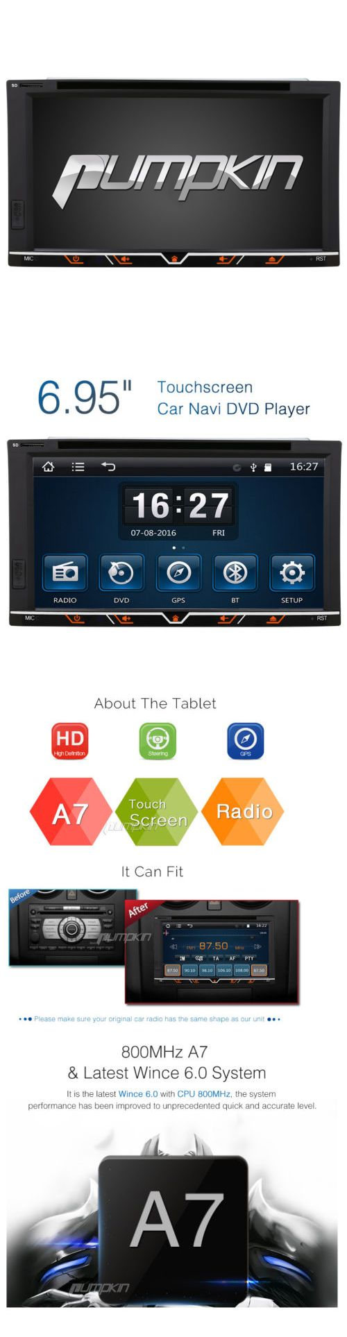 Vehicle Electronics And GPS: 6.95 Hd Touch Screen Double 2 Din Car Gps Stereo Dvd Player Bluetooth Radio+Map -> BUY IT NOW ONLY: $99 on eBay!