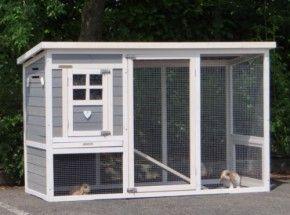 Rabbit hutch Julia white-gray 169x75x104cm