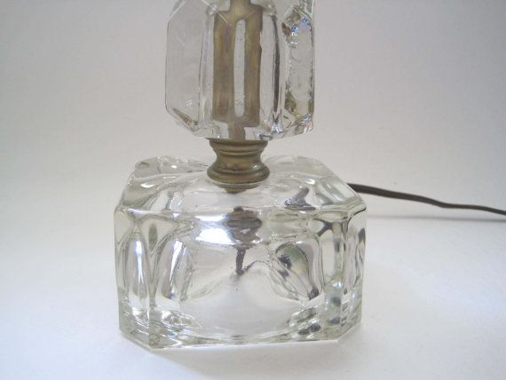 Bedside Lamp Vintage Bedroom 1940s Cube Clear Glass Lamp Bedside Table Light Leviton Post