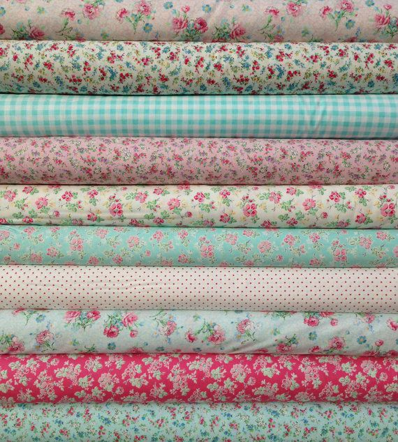 etsy, pretty fabric. Sweet Shoppe (Calico Candies) 1/2 yard bundle of 10, Michele DAmore, Benartex via Etsy