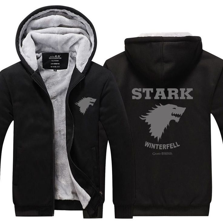 Game of Thrones House Stark of Winterfall Sweatshirt Zipper Fleece Winter Hoodies Men Tracksuit USA size