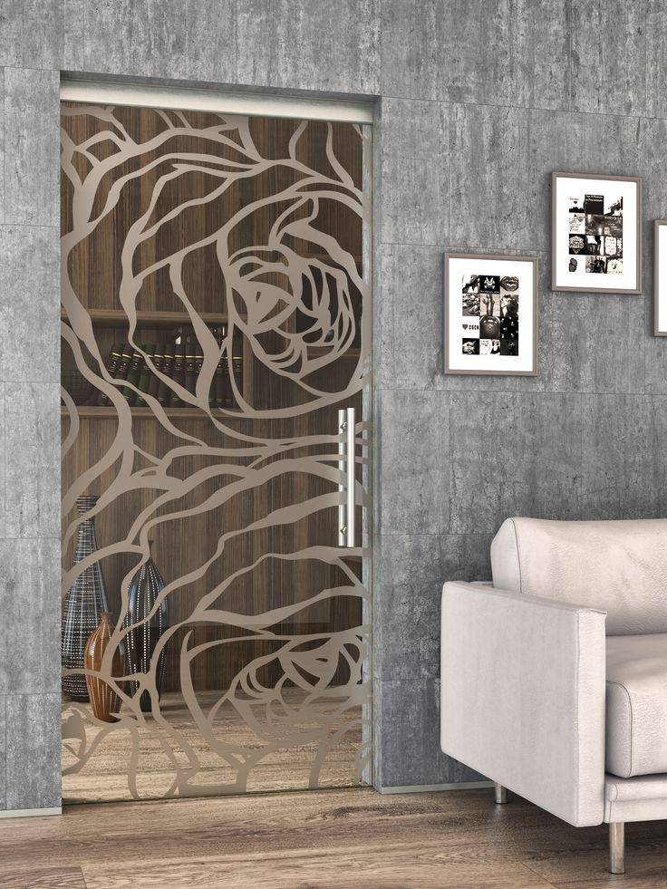 Celoskleněné posuvné dveře JAP -  Planibel bronz s pískovaným motivem #sklo#design#interier#bydleni#house#pískovanésklo#sandblasted#doors#dveře#door#modern#pocketdoors#glassdoors#