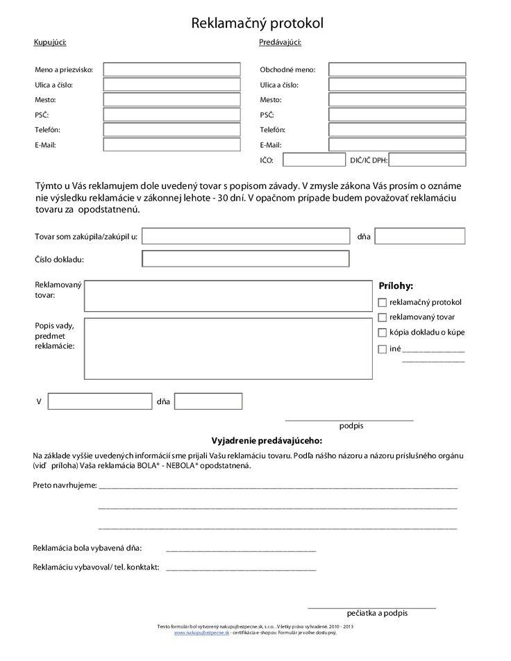 Žiadosť o reklamáciu - reklamačný protokol   Úradné žiadosti   ipdf.sk