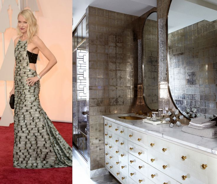 Naomi Watts' gown featured sparkly mixed metallics in a textured windowpane pattern, and would have looked at home in this glam-but-modern powder room.