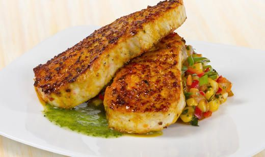 Latin spiced amberjack with corn relish and cilantro oil for Amberjack fish recipes