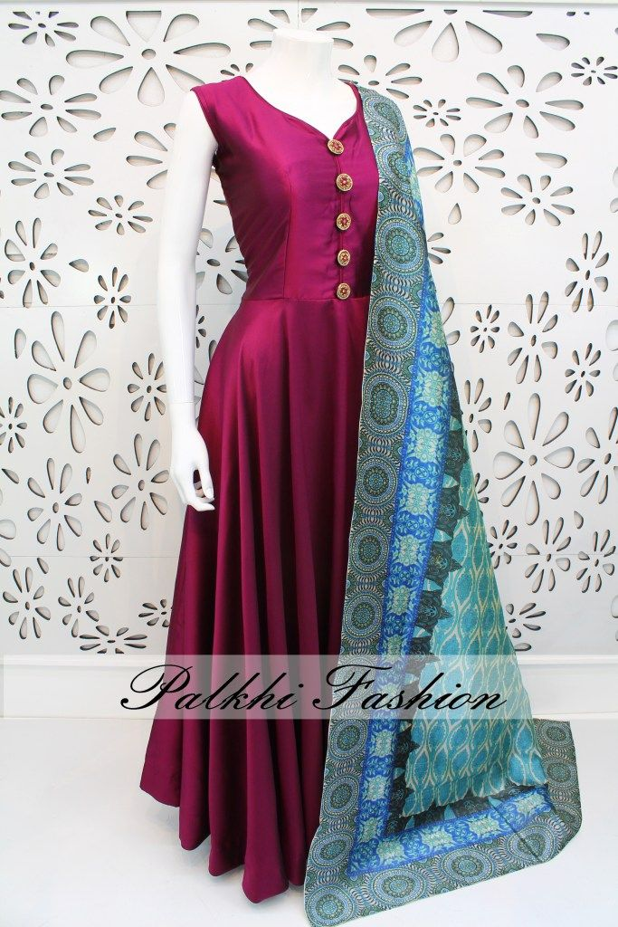 PalkhiFashion Exclusive Full Flair Dark Magenta Satin Silk Outfit with Elegant Print Duppata.