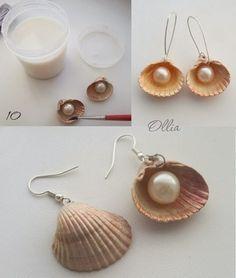 conchas y perlas pendientes - Buscar con Google
