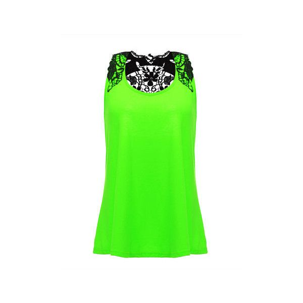 Casual Lace Crochet Embroidered Patchwork Sleeveless Tops ($11) ❤ liked on Polyvore featuring tops, green, neon, shirts, lace sleeve shirt, green shirt, summer tank tops, green sleeveless shirt and sleeveless shirts