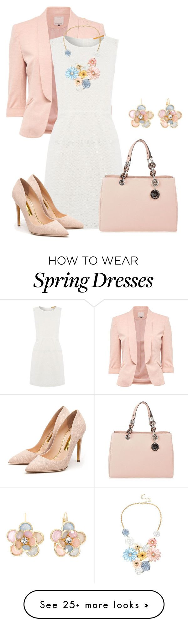"""""""White Dress for Spring"""" by lchar on Polyvore featuring HUGO, MICHAEL Michael Kors, Rupert Sanderson and Mixit"""