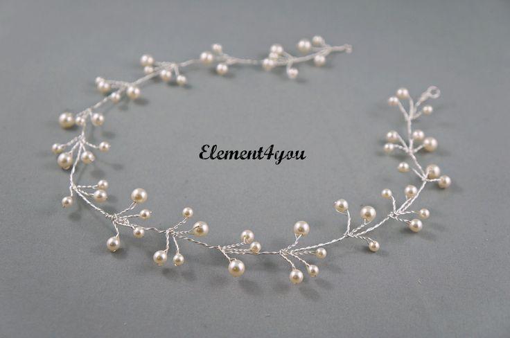 Bridal hair vines Silver wire vines Swarovski cream от Element4you