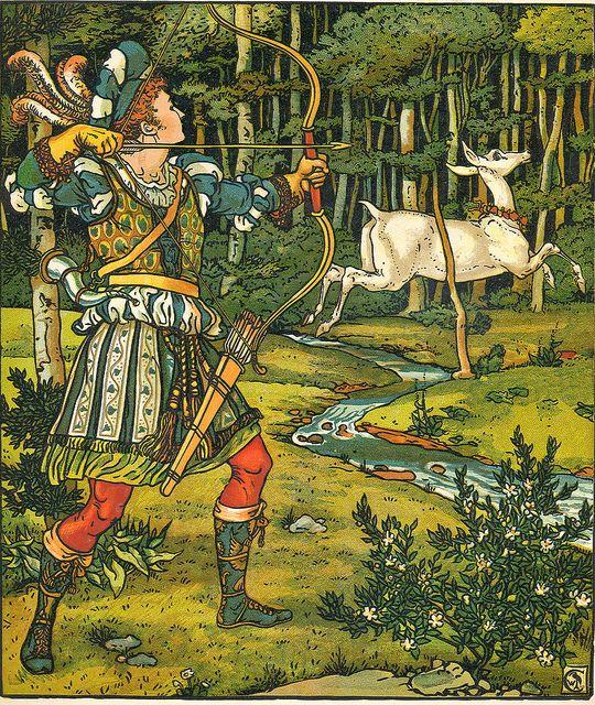 """Illustration by Walter Crane from """"The Hind in Wood,"""" shared by Devon Libraries at Flickr."""