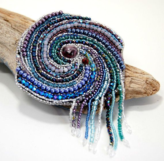 Crystal Galaxy Solar System Bead Embroidered Brooch