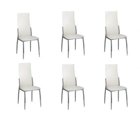 6 Cadeiras de jantar cromadas em couro branco