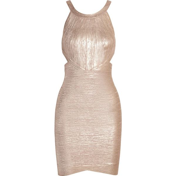 Hervé Léger Cutout metallic bandage mini dress (€720) ❤ liked on Polyvore featuring dresses, neutral, short dresses, pink mini dress, bandage mini dress, cut out dress and pink cocktail dress