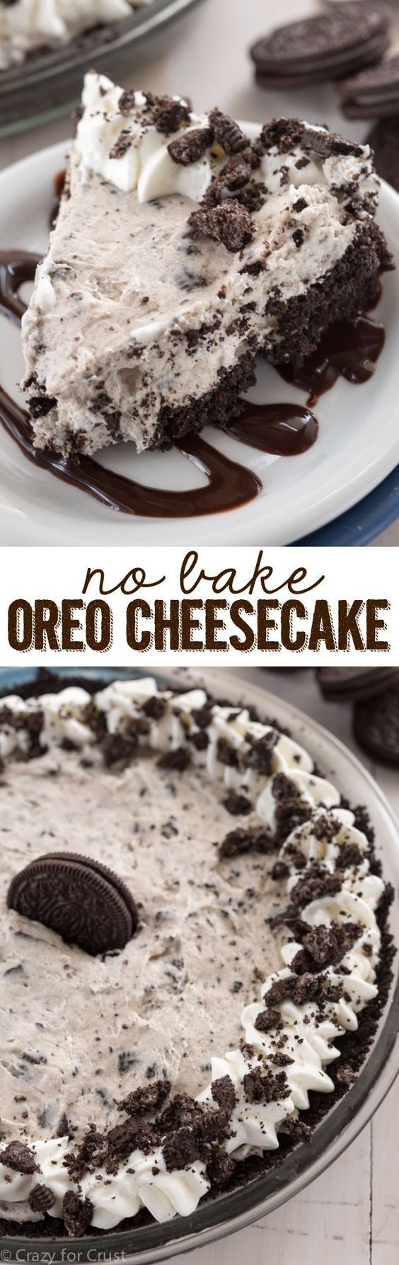 This No Bake Oreo Cheesecake is easy, fast, foolproof and filled with Oreos!! It's the perfect summer recipe! (Oreo Cheese Cake)