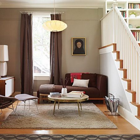 corner brown sofa sets and classic wood table in small living room under stairs brown couch decor pinterest small living rooms small living and wood - Living Room Design With Stairs