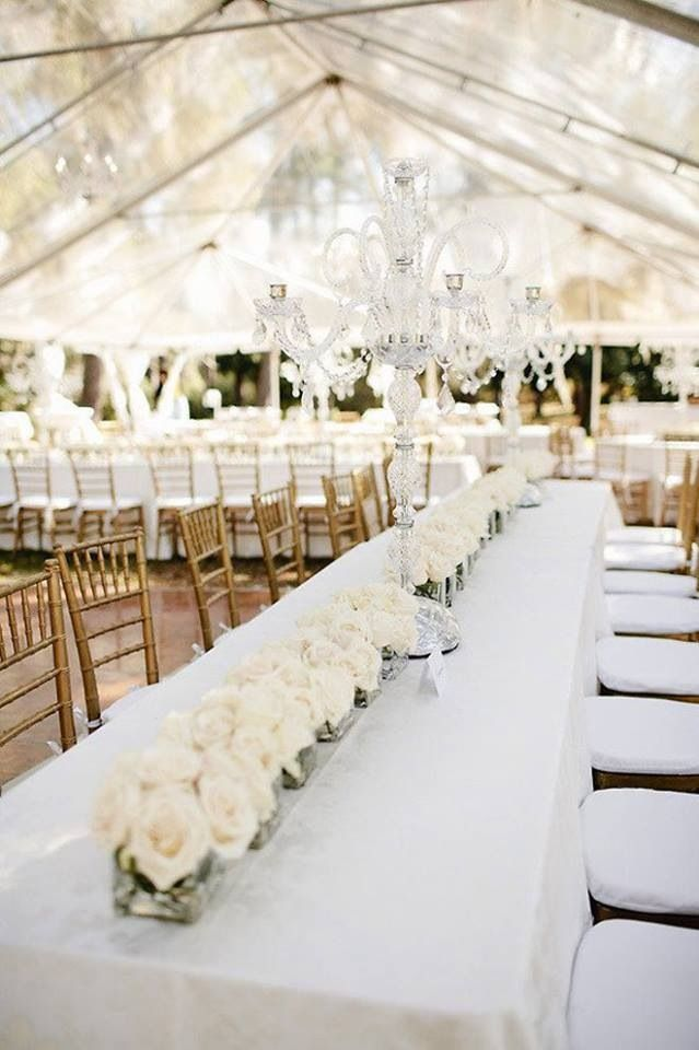 Long Tables with Less Centerpieces - Find more like this at http://www.myweddingconcierge.com.au #weddings #decor #decorations