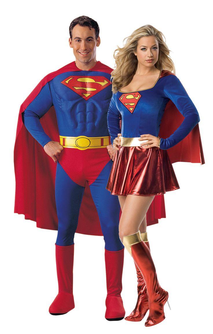 Disfraz de pareja de Superman y Supergirl™: Disfraz de Superman™ para el hombreEste disfraz con licencia oficial se compone de una combinación con tórax musculoso y cubrebotas, una capa y un cinturón. Se...