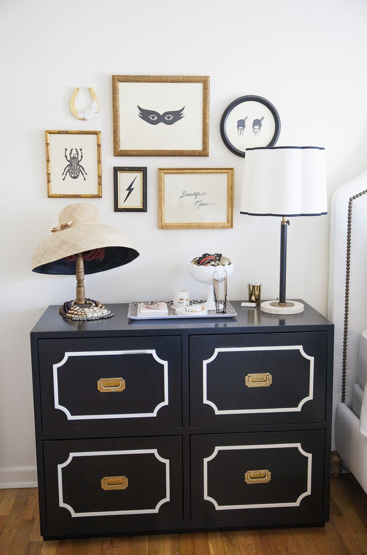 #modern, #gallery-wall, #artwork, #bedroom, #dorothy-draper, #chic, #black-and-white, #frame, #dresser  Photography: Katie Parra - katieparra.com  Read More: http://www.stylemepretty.com/2013/11/08/smp-living-spotlight-24/