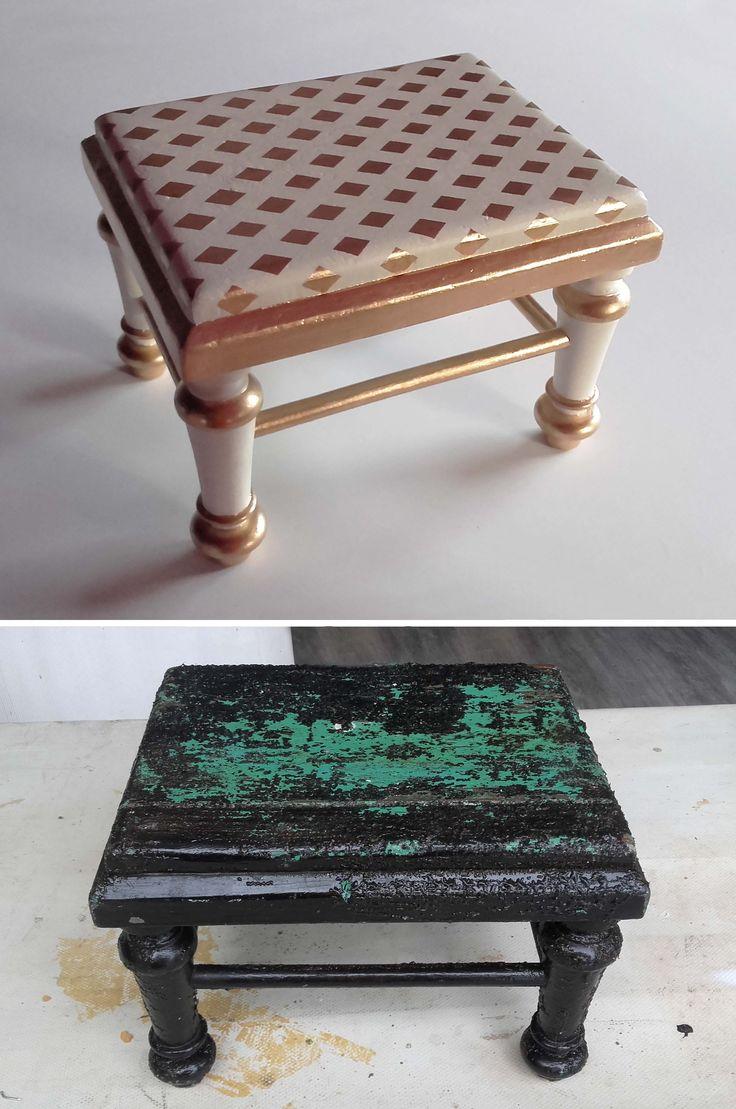 Esta pequeña y antigua banqueta de zapatero se ha convertido en un elemento decorativo muy chic. Recupera tus viejos muebles y dales una nueva vida!!!!!