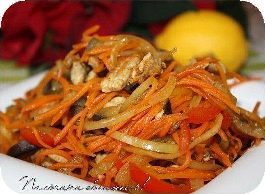 Салат из баклажанов с мясом и болгарским перцем / Здоровый аппетит