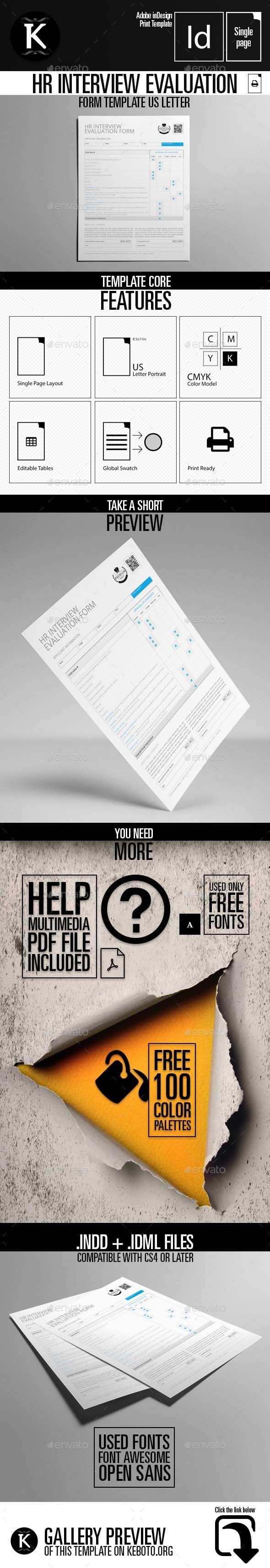 HR Interview Evaluation Form Template US Letter — InDesign INDD #interview template #evaluation • Available here → https://graphicriver.net/item/hr-interview-evaluation-form-template-us-letter/17164168?ref=pxcr