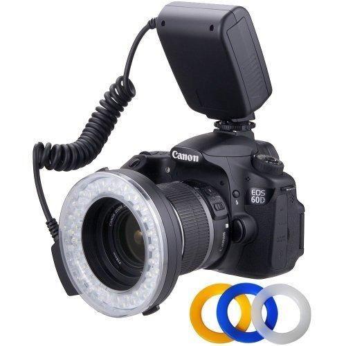 Polaroid 48 Macro LED Ring Flash & Light Includes 4 Diffusers (Clear Warming Blue White) For Canon Nikon Panasonic Olympus Pentax SLR Camera