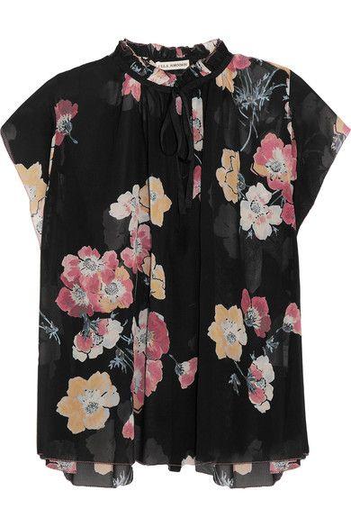 Ulla Johnson - Saadi Floral-print Silk-georgette Blouse - Black - US10