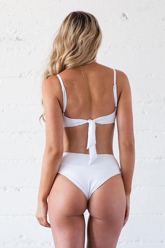 45cc04ce4e9 High Waisted Bikini Bottom - White Ribbed | Beach Babe Swimwear® #swimsuits  #bikinis #highwaisted #whitebikini #beachbabeswimwear