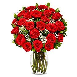 From You Flowers - Two Dozen Long Stemmed Red Roses (Free Vase Included) for Valentine's Day