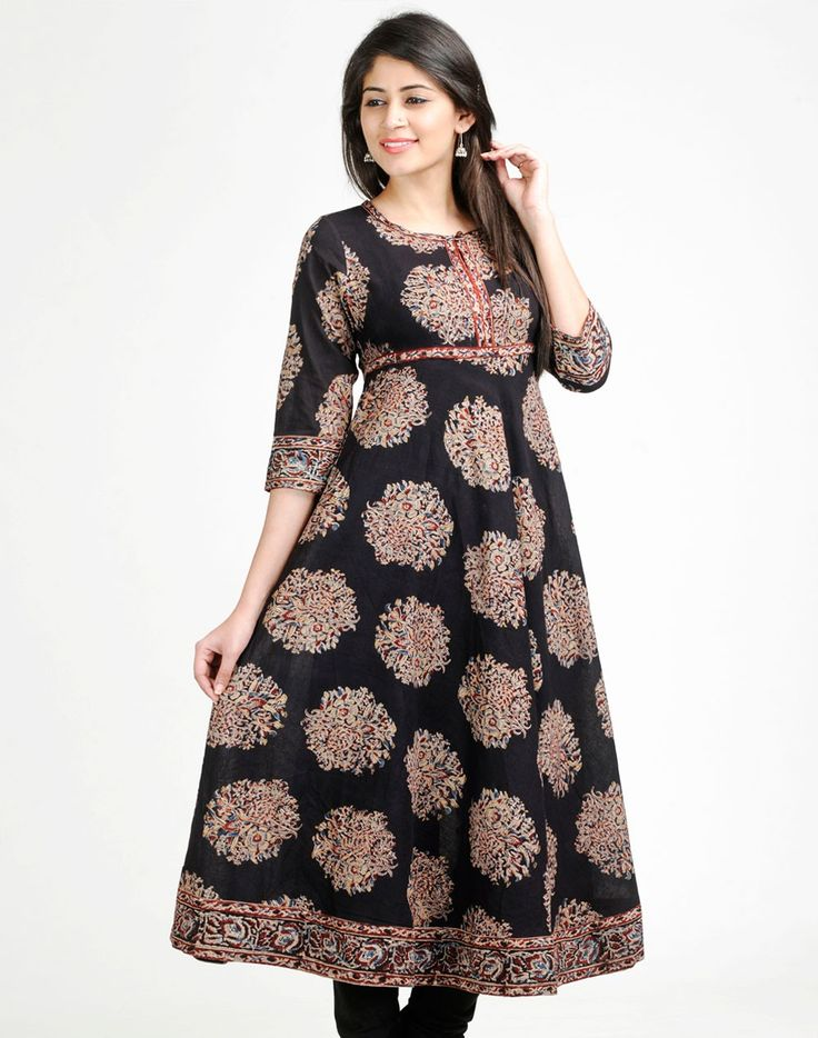 Cotton Kalamkari Empireline Anarkali Long Kurta