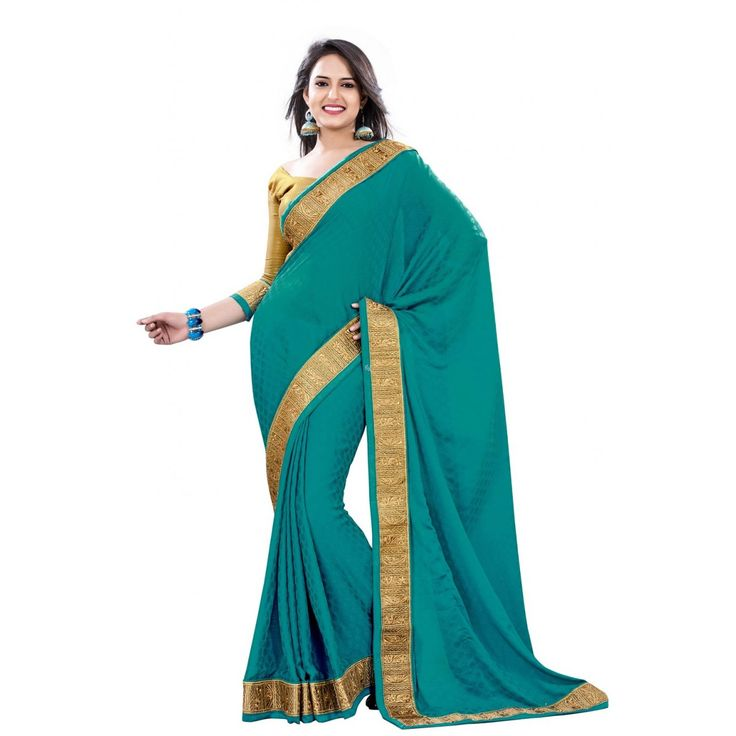 Green Crepe and Jacquard Designer #Saree With Blouse- $48.36