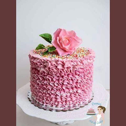 Pink Swiss Meringue Buttercream Ruffles  Remember the recent two videos on #swiss #Meringue #Buttercream and #howto #ruffles  Well here's the cake #cakesinisrael #tutorial #cakesinrananna #VAOC #veenaazmanov #veenaartofcakes #buttercreamcakes #ra'nanna