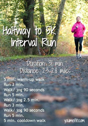 Halfway to 5K: an interval run for beginner 5K training.