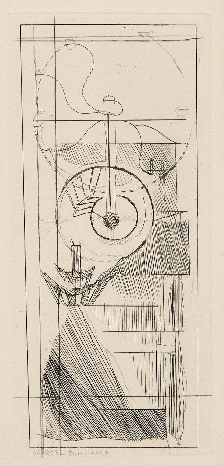 Marcel Duchamp - Coffee Mill, from Du cubisme; Creation Date: 1947; Medium: Etching on buff wove paper; Dimensions: 17.78 X 7.94 cm.