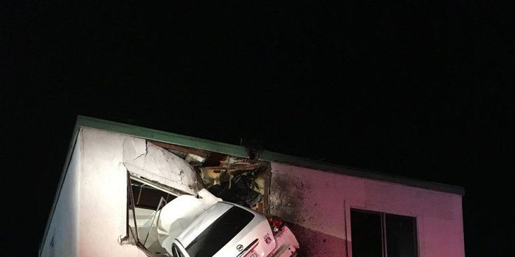 Weird Crash Results in Car Lodged Into Second Floor of a Building