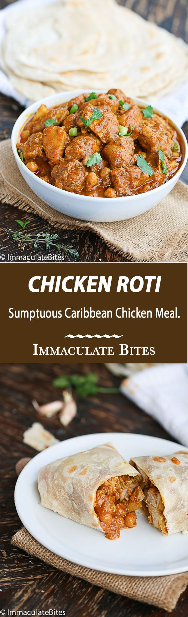 Trinidad Chicken Roti- An incredible Caribbean(tobago,Guyana) chicken meal that would excite your taste buds. Rich in spices, chickpeas and potato-So easy to make and comes together quickly.