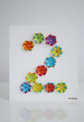 DIY: Onnittelukortti kukista 2-vuotiaalle / Flower Birthday Greeting Card for a 2-year old