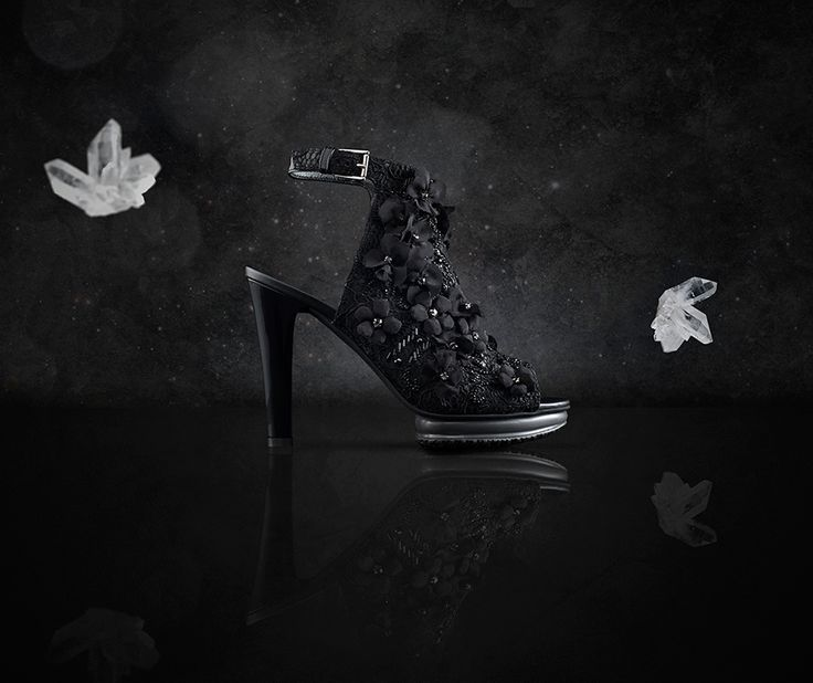 Black lace and silk roses studded with sparkling Swarovski crystals, stones and micro-beads. This is ‪#‎HOGANATELIER‬ ‪#‎Interactive‬ Black Flower Heels.