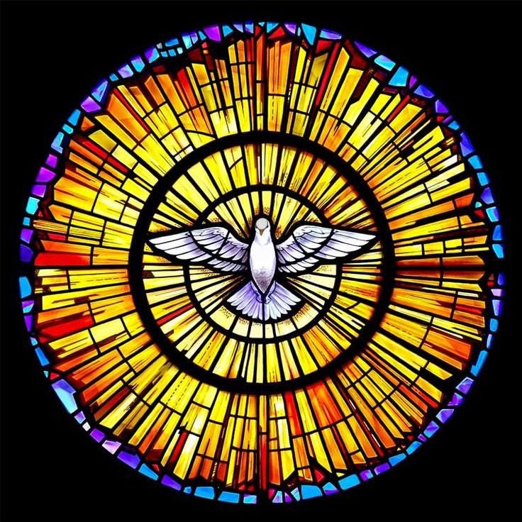 stained glass | religious stained glass window showing the symbol of the Holy Spirit