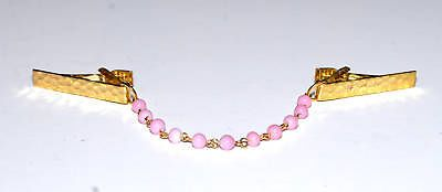 Vintage-Pink-Bead-Gold-Tone-Metal-Clip-Sweater-Clip