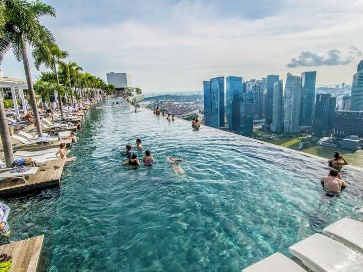 Rooftop Pool At The Marina Bay Sands Hotel In Singapore Cool Swimming Pools Amazing Swimming Pools Best Swimming