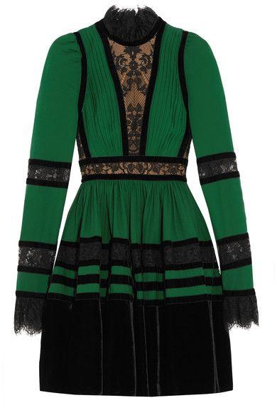 Elie Saab - Lace And Velvet-paneled Pleated Crepe Mini Dress - Forest green