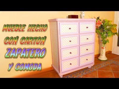 Mueble hecho con cartón Zapatero y Comoda, muebles de carton DIY - YouTube