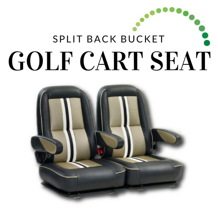 The Split Back Bucket is our premium, top-of-the-line seat. It includes three adjustable arm rests, adjustable seat sliders and positioning belts. Other unique features include color-blocking and coordinating double top-stitching, and a choice of two or three seat colors from Backspin's swatch collection! #golf #golfswing #golfr #golfing #golfgame #golfstyle #golfcart #golfisfun #golflove #golfcar #golfpro #golfswag #golfislife #golflifestyle #golfaddict #golfcarts