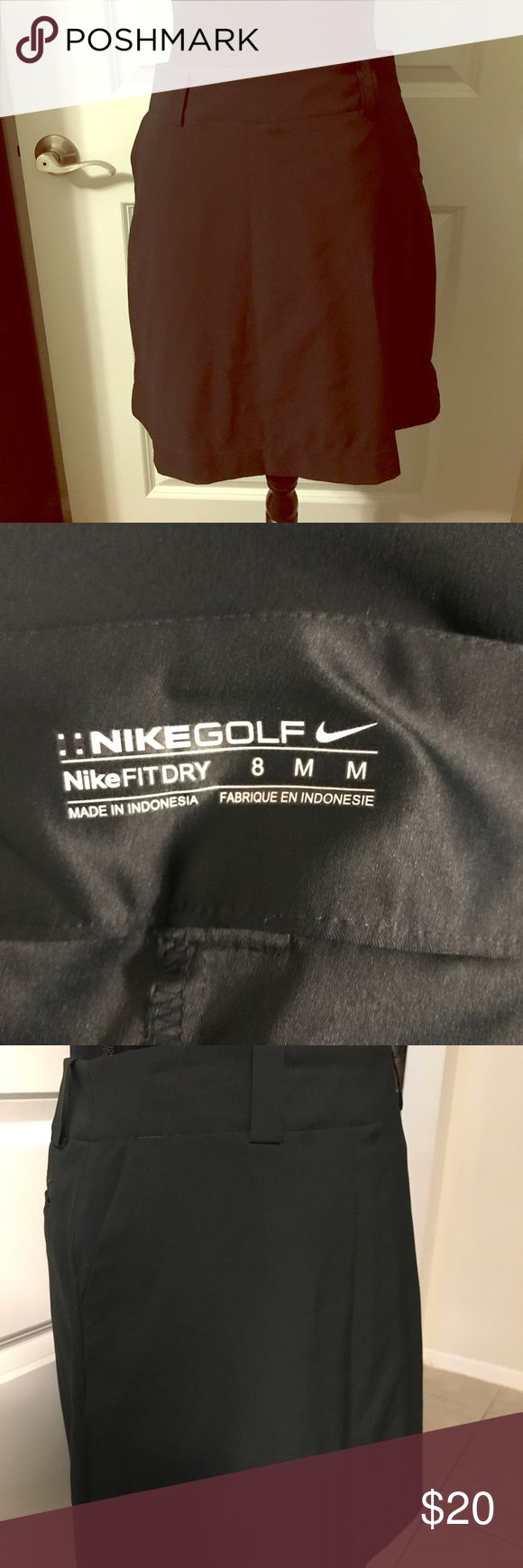 """Nike Fit Golf skort Sz 8. NWOT Nike Fit Dry skort (skirt with shorts under) Sz 8. Black with belt loops. NWOT. One of my favorite """"look cute and be comfy"""" tricks is to wear active wear as regular clothing. Pair with booties and a body suit for fall and then add layers for winter! Nike Skirts"""