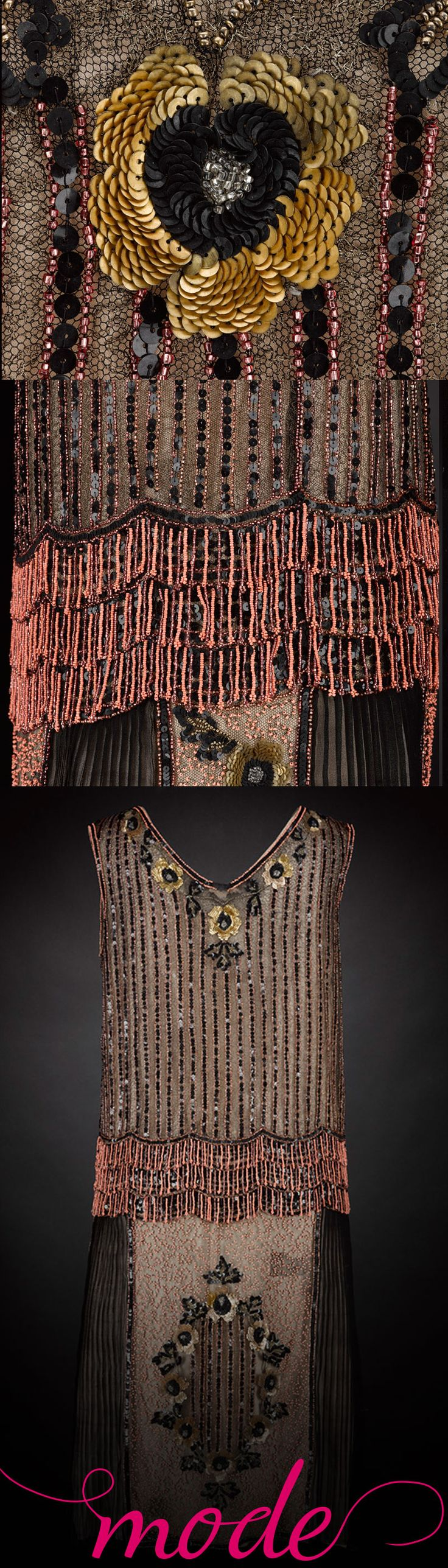 With its intricate beading and sleek silhouette, this glamorous flapper dress from 1927 recalls the Great Gatsby era.  Find out more about this dress and many more at http://www.nms.ac.uk/mode. Mode is your personal, portable guide to the new Fashion and Style gallery at the National Museum of Scotland. Luxuriate in couture details with close-up images and 360 views, and discover everything from sumptuous fabrics and bespoke craftsmanship to cutting-edge design inspiration and fashion…