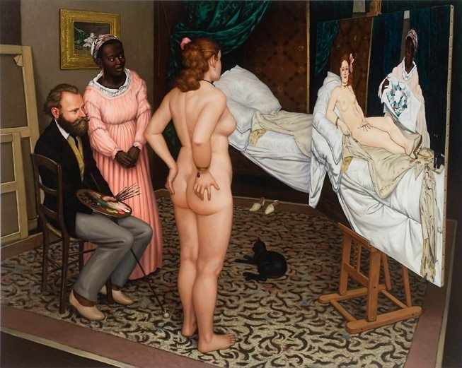 Olympia, her maid and Manet survey the results.