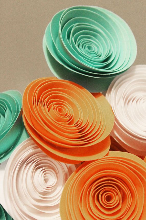 12 Teal Orange and White Spiral Paper Flower Bouquet Arrangement - Centerpiece - Graduation Gift - Party Decor - Baby Shower