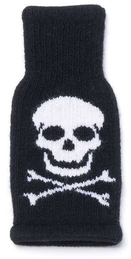 Skull Knit Bottle Coverall. Fits most bottles or cans. Use to keep your drink cold, or use as a fun reusable gift bag.: